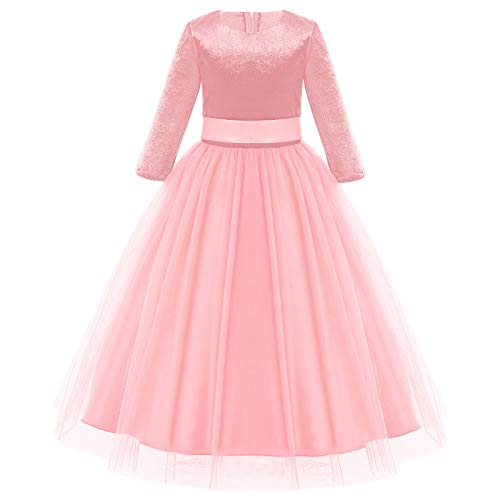Feestelijke meisjesjurk voor kinderen Sweet Prinses lange mouwen tule bruiloft bloemenmeisjesjurk bruidsmeisjes…