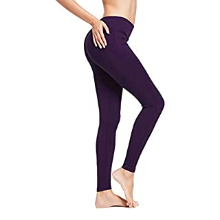 BALEAF Women's Ankle Legging Athletic Yoga Hiking Workout Running Pants Inner Pocket Non See-Through Gothic Grape Size XXL