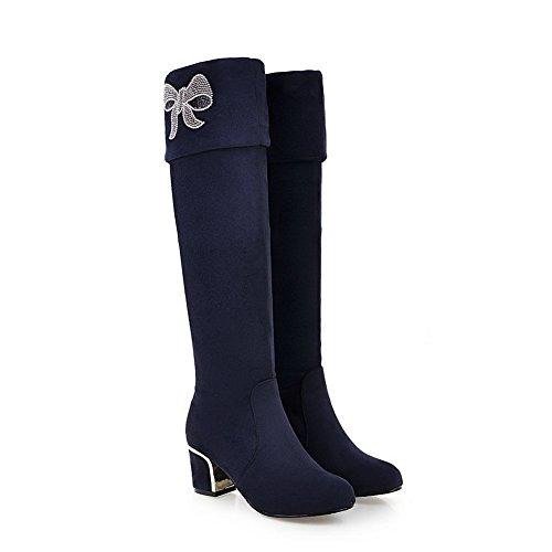 AgooLar Damen Eingelegt Hoher Absatz Rund Zehe Reißverschluss Stiefel mit Beschlagene Strass, Weiß, 40