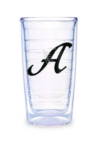 (Tervis Tumbler Black Laser Twill Initial - A 16-Ounce Double Wall Insulated Tumbler Set of 4)