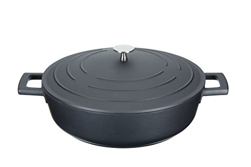 - masterclass Cast Aluminium Induction-Safe Non-Stick Shallow Casserole Dish, 4 L, Black, 28 x 38 x 16 cm