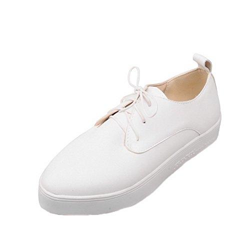 Fermeture Cuir Femme Talon Lacet à AalarDom Légeres Chaussures d'orteil Bas Blanc PU 1a4ZqnA