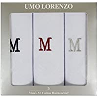 Men's 3 Pack 100% Cotton Monogrammed Handkerchiefs Initial Letter Hanky