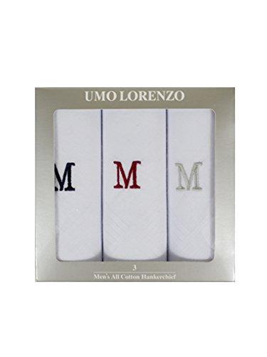 - Men's 3 PC 100% Cotton Monogrammed Handkerchiefs Initial Letter Hanky M