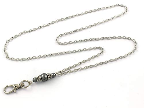 Brenda Elaine Jewelry | Real Silver Plate | Women's Fashion Lanyard Necklace for ID Badge Holders | 32 Inch Silver Textured Chain with Dark Gray Pearl Pendant & No Rear ()