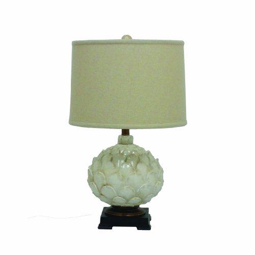 Yosemite Home Decor PTLA81259 25-Inch Resin Table Lamp with Beige Fabric Shade, Pearl Beaded Ceramic Finish