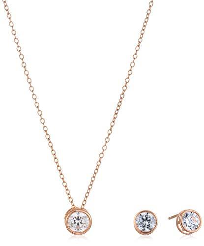 - Women's 10k Rose Gold Swarovski Zirconia Bezel Stud Earrings and Necklace Set, One Size