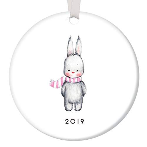 Baby Girl Bunny Christmas Ornament 2019 Adorable Infant Rabbit Ceramic Keepsake Present to Mommy & Daddy Newborn Daughter 1st Holiday with Family 3