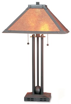 Attractive Table Lamp W/mica Shade