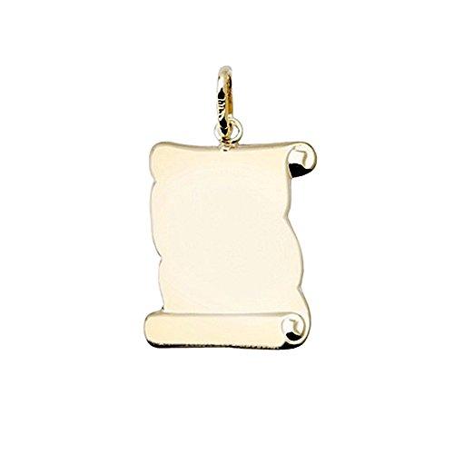 Parchemin pendentif or 18k lisser [AA4894]