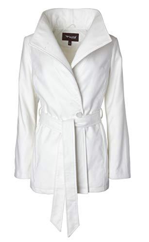 Wool Blend Ivory Jacket (Sportoli Women's Wool Look Single Breasted Asymmetric Belted Dress Wrap Pea Coat - Ivory (Size 2X))