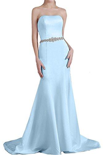 Strass Blau Traegerlos Satin Partykleid einfach Ivydressing Damen Perlen Abendkleid Brautfernkleid Guertel Schleppe aermellos Meerjungfrau Ruekenfrei wqx8SI6fS