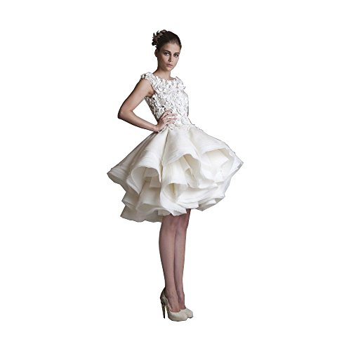 Fenghuavip Round Collar White Lace Applique Short Multi Layers Wedding Dress (custom made)