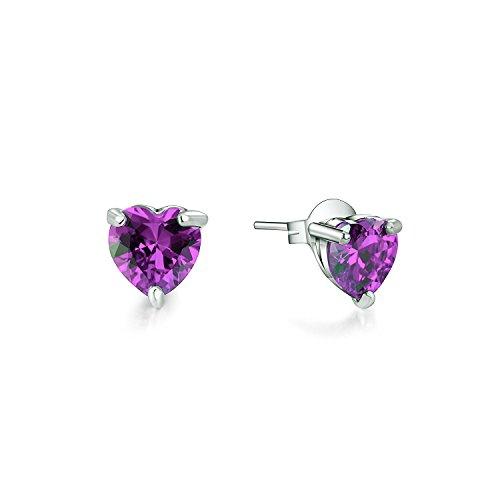 Majesto 925 Sterling Silver Purple Heart Pendant Necklace Stud Earrings Bracelet Set For Women Teens Girls by Majesto (Image #3)