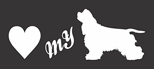 - Barking Sand Designs Love My American Cocker Spaniel Silhouette - Die Cut Vinyl Window Decal/Sticker for Car/Truck