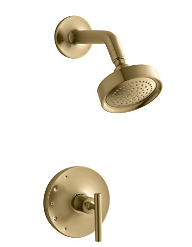 KOHLER TS14422-4-BGD Purist Rite-Temp shower valve trim with lever handle and 2.5 gpm showerhead, Vibrant Moderne Brushed - Gold Pressure Rite Temp Balancing