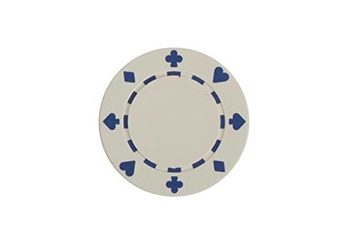(CHH 2602W-WHT 25 Piece Suited Clay Composite Poker Playing Chips, White and Blue)