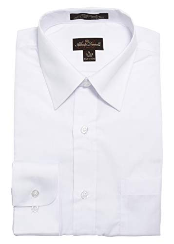 Alberto Danelli Men's Solid Long Sleeve Dress Shirt,White,XLarge / 17