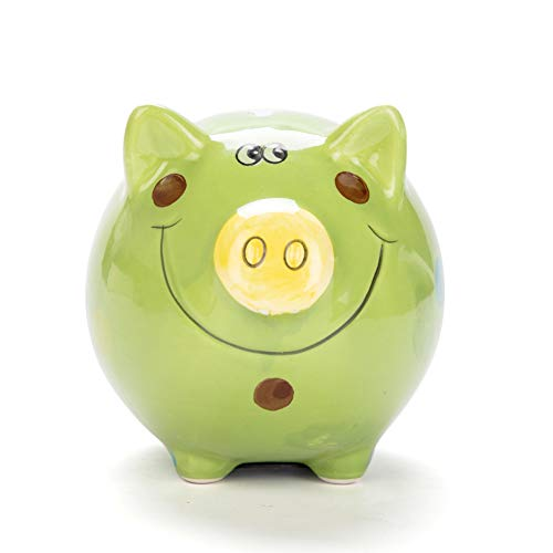 JYPHM Ceramic Piggy Bank for Kids Piggy Bank for Boys and Girls Unique Gift Nursery Décor Keepsake Porcelain Piggy Bank Green Small size(5x5x4inch)