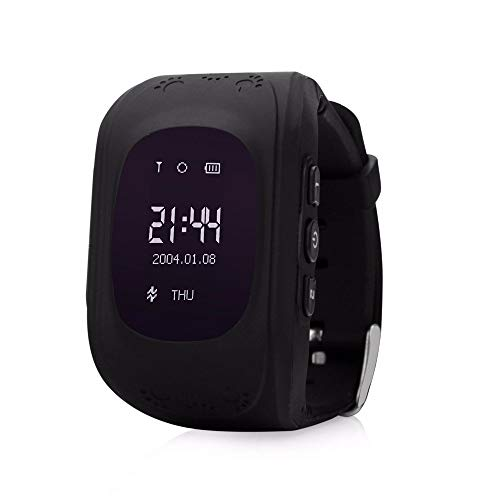 HelloPet Q50 Kids GPS Smart Watch, GPS GSM Bracelet Tracker Support SOS Call, GPS Locator, Voice Chatting, Remote Monitor, Pedometer, Anti-Lost Monitor, Pedometer for Children (Black)