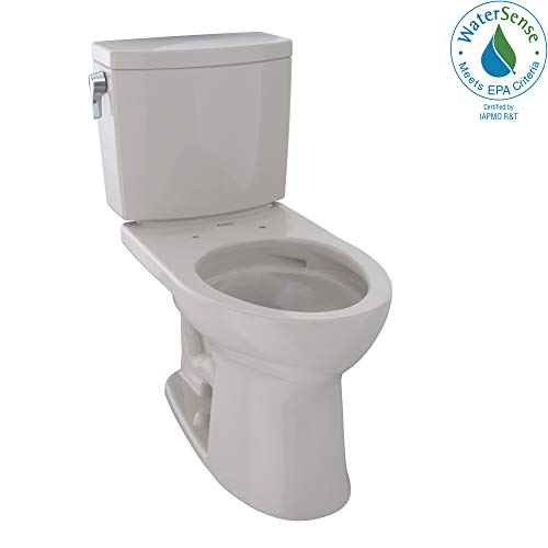 - TOTO CST454CUFG#12 Drake II 1G Two-Piece Elongated 1.0 GPF Universal Height Toilet with CEFIONTECT, Sedona Beige