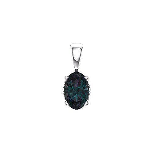 14K White Gold 6X4mm Oval Chatham Created Alexandrite Pendant