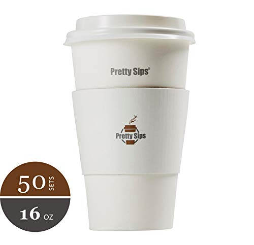Pretty Sips Paper Hot Cups with Lids and Cup Sleeves, White (HOT16LS),Qty of 50