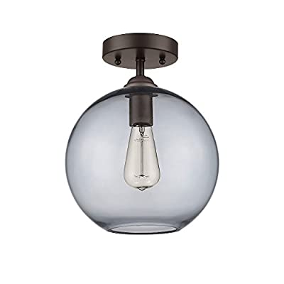 1-Light Semi-Flush Ceiling Fixture with Smokey Grey Glass Shade