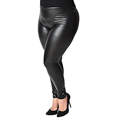 7th Element Plus Size Winter Warm Fleece Lined Velvet Faux Leather Leggings High Waisted for Womens Girls for sale