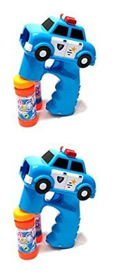 LilPals BEST FIRE TRUCK & POLICE CAR BUBBLE GUN SHOOTERS - BLASTERS WITH LIGHT AND SOUNDS, WITH 2 BUBBLE SOLUTIONS, FOR KIDS 3 YEARS AND UP (Blue and Blue)