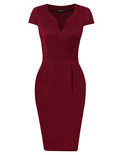 HiQueen Women Vintage V-neck Office Work Business Party Bodycon Dress (L, Cap Sleeve Wine Red)