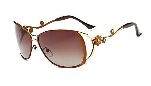 Flowertree Women's SA312 Metal Cutout Floral Oversized Polarized Sunglasses L-size (brown, - L Sunglasses Farrow