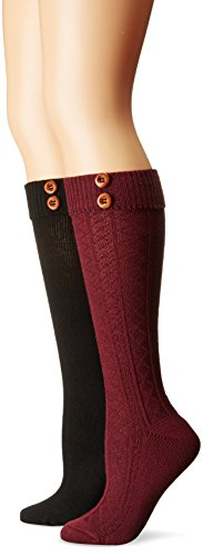 Steve Madden Women's Button Cuff Knee High Sock 2 Pack, Burgundy/Black, 9-11