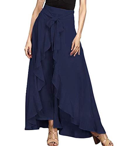 FLORHO Women Casual Ruffle Palazzo Long Pants Split High Waist Pleated Maxi Skirt Blue 2XL