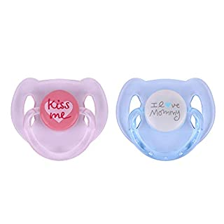 Kaydora 2 Pcs Magnetic Pacifier for Reborn Baby Doll, 2-Pack, Pink&Blue, for Girl or Boy Doll