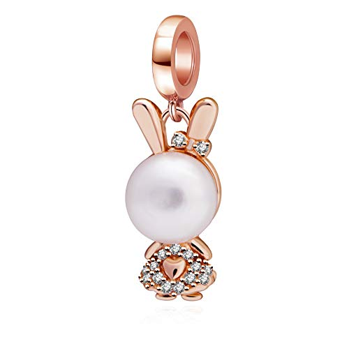 (SOUKISS Rose Gold Rabbit Charms 925 Sterling Silver Bunny Animal Dangle Charm with Simulated Pearl and Clear CZ Fits Bracelet)