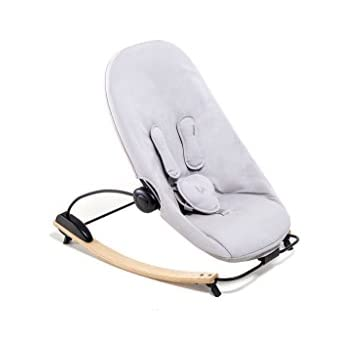 Bloom Coco Go 3-in-1 Baby Lounger / Bouncer / Rocker Natural Frame with Seat Pad in Organic Cotton Canvas (frost grey)