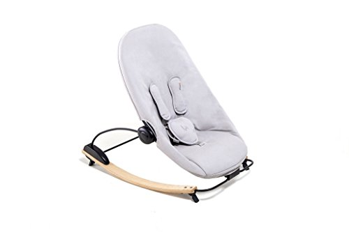Bloom Coco Go 3-in-1 Baby Lounger/Bouncer/Rocker Natural Frame with Seat Pad in Organic Cotton Canvas (Frost Grey)