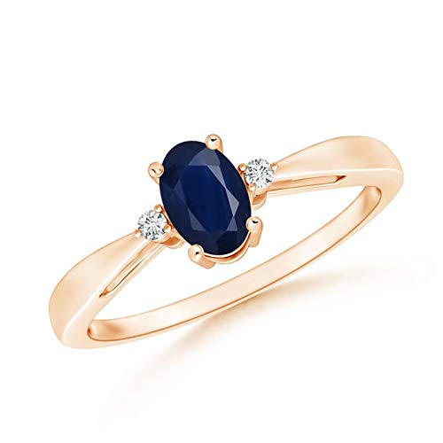 Tapered Shank Blue Sapphire Solitaire Ring with Diamond Accents in 14K Rose Gold (6x4mm Blue Sapphire)