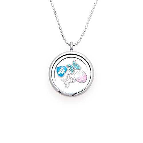 Fuller Joy 30mm Round Magnetic Floating Locket Necklace with Charms (Big Sister) (Locket Big)