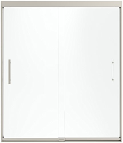 (STERLING 547808-59N-G05 Finesse Peak Sliding Shower Door, 70-1/16 In. H x 59-5/8 In. Max Opening, Nickel with Smooth Clear Glass, ,)
