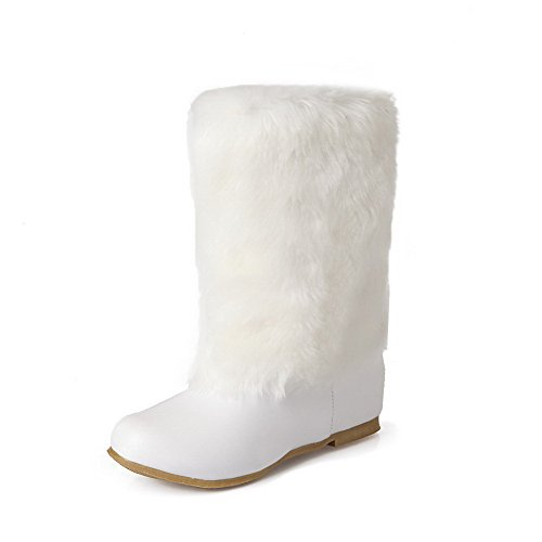 Low Women's Heels AmoonyFashion Low Soft Material on Pull top White Boots Solid w4qa5aCd