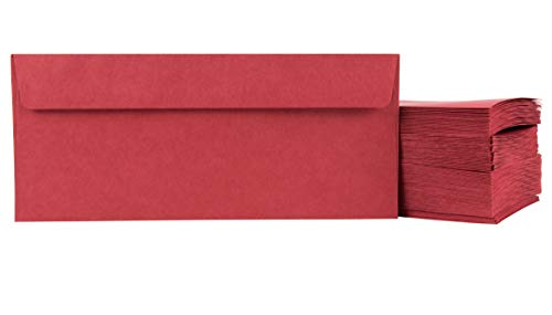 - 100 Pack #10 Red Business Envelopes - Value Pack Square Flap Envelopes