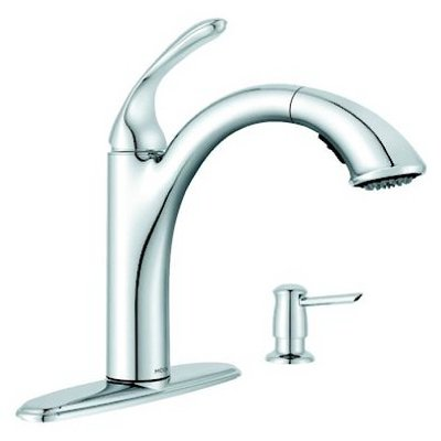 MOEN 87035 Pullout Spray Kitchen Faucet with Soap Dispens...