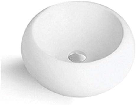 浴室台上盆 磁器ラウンド容器シンク用キャビネット洗面化粧台浴室の上カウンターホワイト 和風 洋風 (Color : White, Size : 27x27x12cm)