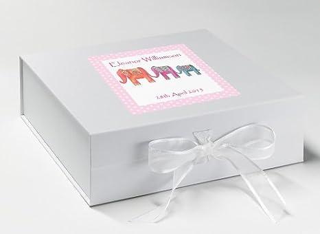Caja de recuerdo de bautizo, Memory Box, personalizada, Diseño de elefante, color blanco: Amazon.es: Hogar