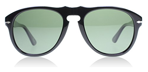 Persol Po0649 Men's Original 649 Series Sunglasses, Black Acetate Frame, Green Polarized 54mm Lenses