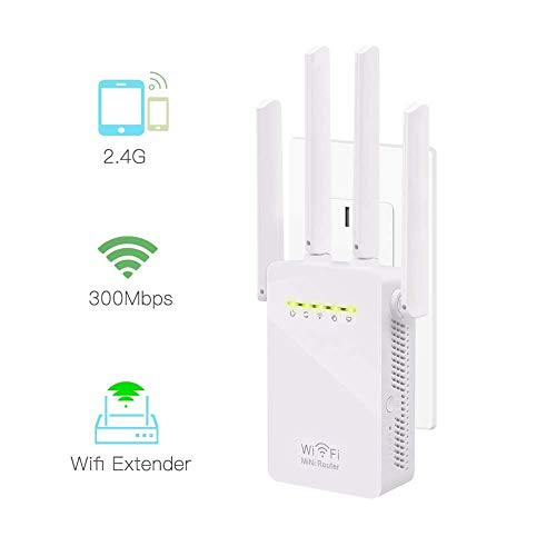 Wifi Repeater, KeepTpeeK Wifi Range Extender 300Mbps 2.4GHz Signal Internet Extender Amplifier Wifi Booster with Four Antennas by KeepTpeeK