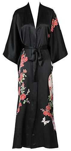 Sleeve Silk Charmeuse Dress - Silk Kimono Women's 100% Pure Mulberry Silk 3/4 Sleeve Long Robe - Handpainted Classic Nightwear Sleepwear Black