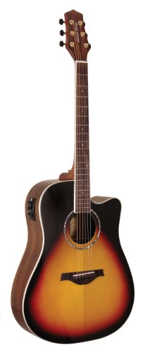 Wood Song Dreadnought Cutaway DCE-TSB-L Acoustic-Electric Guitar with Pickup, Left Handed, Tobacco Sunburst